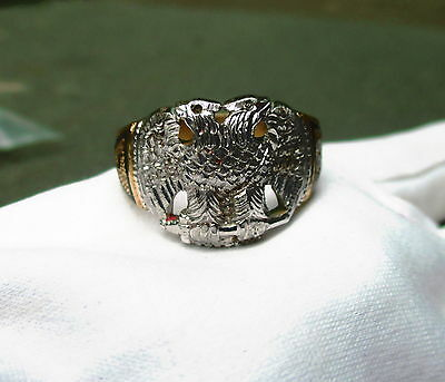 """Mens Masonic Double Eagle Ring With The Number 32 Stamped """"Brass"""" Size 10"""