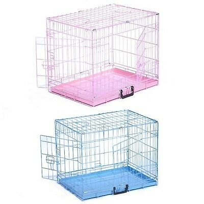 Pink, Blue Dog Cage Puppy Crate Metal Tray Small or Medium Training House