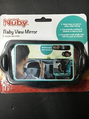Nuby Baby View Mirror with Glass Suction Cup and Visor Clip, Multi Angle View