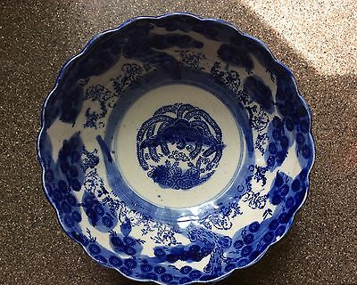 "Antique Meiji Japanese Arita Karako Blue White 10"" Punch Bowl"