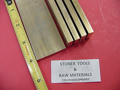 """5 Pieces 1/4"""" x 1-1/2"""" C360 BRASS FLAT BAR 4"""" long Solid .250"""" Mill Stock H02"""