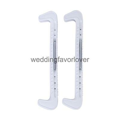 1Pair White High Grade Ice Hockey Skate Blade Guards Covers Adjustable