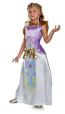 Princess Zelda Deluxe Child Dress Costume Nintendo Video Game Cosplay S M L XL