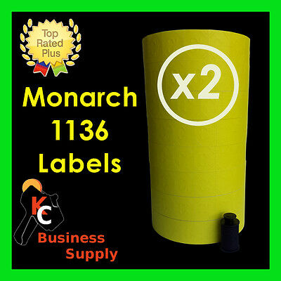 Yellow labels for Monarch 1136 two line price gun labeler 2 sleeves = 16 rolls
