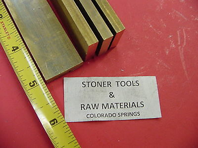 "4 Pieces 1/4"" x 1"" C360 BRASS FLAT BAR 5"" long Solid .250"" Mill Stock H02"
