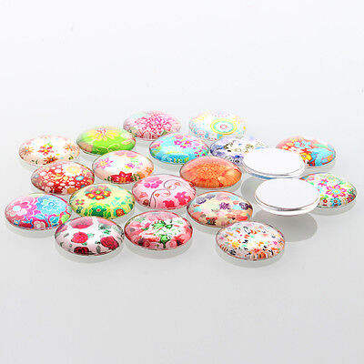 10 Floral 12mm Printed Half Round Domed Glass Cabochons (BOX124)