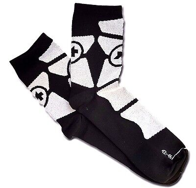 ASSOS Cycling Socks EQUIPE SOCK_G1 BLACK VOLKANGA Made In Italy / Size S-M-L
