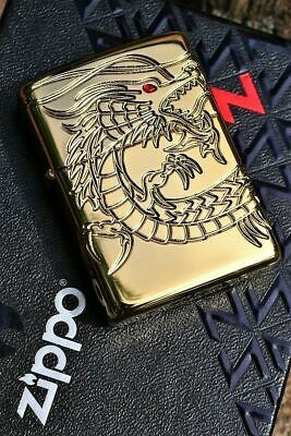 Zippo Lighter - Chinese Dragon - 360 Degrees Multi-Cut Armor Case - Gold Plated