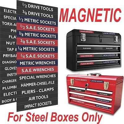 Magnetic TOOLBOX LABELS for steel chests 30 Labels Fully Adjustable Color Coded