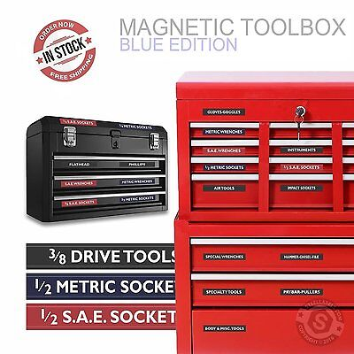 TOOLBOX LABELS for steel chests 30 Labels Fully Adjustable Color Coded Magnetic