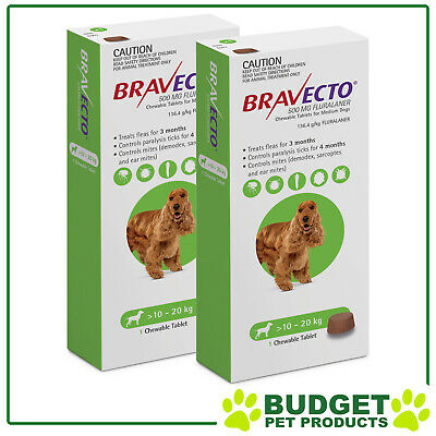 Bravecto for Medium Dogs 10-20kg 1 Chew  X 2