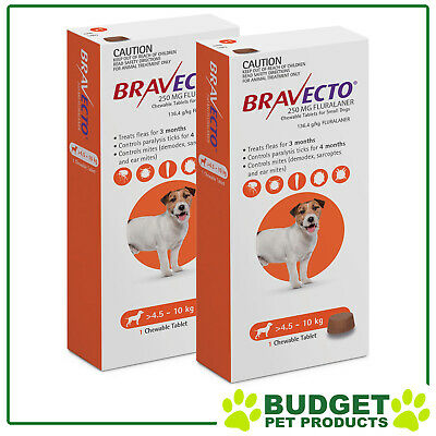 Bravecto for Small Dogs 4.5-10kg 1 Chew  X 2