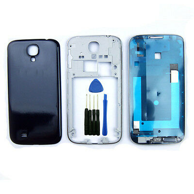For Samsung Galaxy S4 i9500 Blue Front Middle Housing Battery Cover Side Key