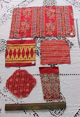 Lot Of 5 Antique French 19thC Printed Cotton Turkey Red Fabrics~Dolls,Quilts