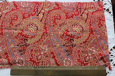 French Antique Printed Turkey Red Paisley Cotton Quilting Weight Fabric c1870