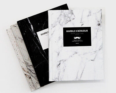 Marble Bonjour Hardcover Notebook Journal Bookbound Blank Diary by Random Color