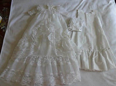 Vintage Christening Gown Phyllis Baby Wear White Lace Slip Bonnet Outfit Set USA