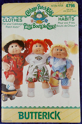 """Butterick #4796 Cabbage Patch Kids 16"""" Doll Clothing Sewing Pattern Unused"""