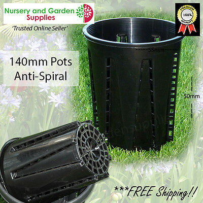 140mm Plastic Anti-Spiral Pot (143mm) Air pruning - stops roots from circling