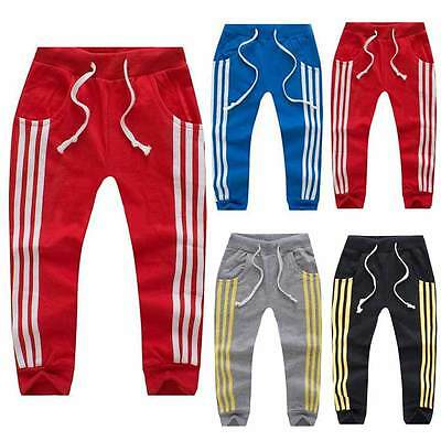 Kids Baby Boys Girls Toddler Casual Striped Jogger Children Trousers Sport Pants