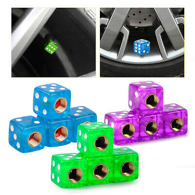 4pcs Dice Style Wheel Tyre Valve Stems Caps Metal Air Dust Covers For Car Bike