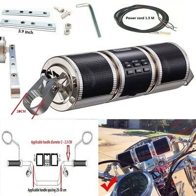 Motorcycle Speakers Audio Radio Sound System Stereo Speakers MP3/USB FM Silver