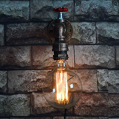 Loft Industrial Wall Pipe Lamp Retro Light Steampunk Vintage Wall Sconce Iron WY