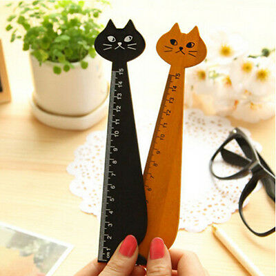 Cat Shape Ruler Cute Wood Animal Straight Ruler Gift Kids Supplies Stationery