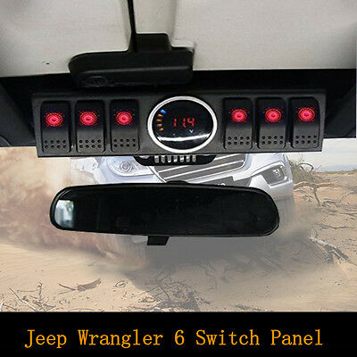 Jeep Wrangler 6 Switch Panel with Control System With LED Digital Voltage Meter