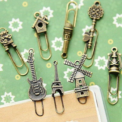 4Pcs/Set Metal Vintage Bookmarks Paper Clip Holder Stationery School For Xmas DI