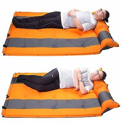 Self Inflating Double Mattress Sleeping Mats Air Bed Camping Hiking Joinable S01