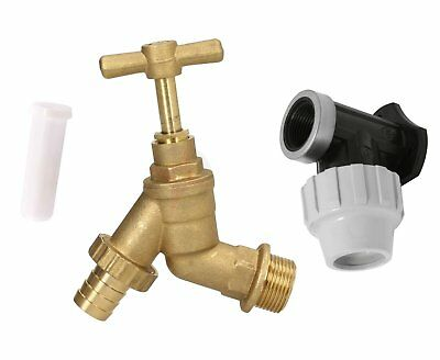 """Outdoor Garden Tap Hose Union Bib Tap 3/4"""" Brass Kit with 25mm Wall Plate Elbow"""