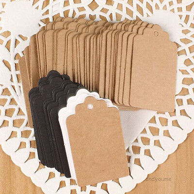 100pc Blank Business Card Name Message Note DIY Stamp Label Tag Kraft 3 Colors