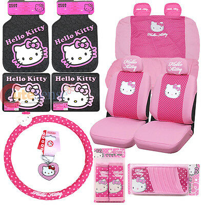 Sanrio Hello Kitty Car Seat Covers Pink Poka Dots 16pc Auto Accessories Set