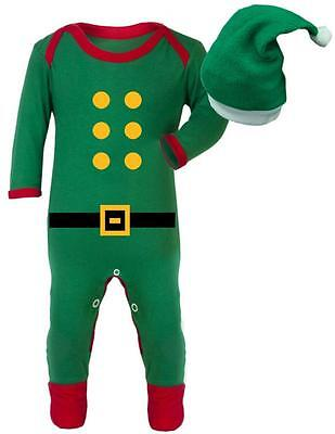 Christmas Edition Elf outfit with hat - Baby Romper suit - Elf Baby Sleep Suit
