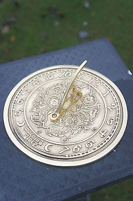 "Solid Polished Brass ""Morning Glory"" 170mm Diameter Garden Sundial"