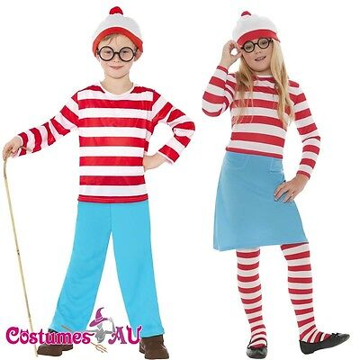 Kids Wenda Waldo Wheres Wally Costume Girls Boys Where's Book Week Cartoon Dress