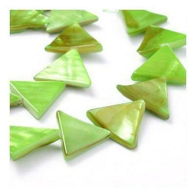 Strand of 25+ Green Dyed Shell 15mm Triangle Beads Y06410
