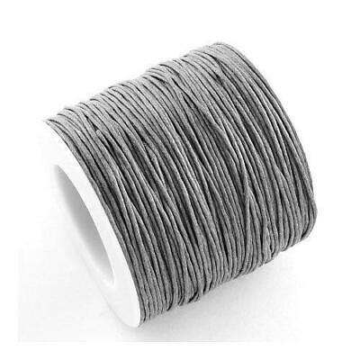 1 x Grey Waxed Cotton 5m x 1mm Thong Cord Continuous Length Y06550