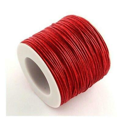 1 x Red Waxed Cotton 5m x 1mm Thong Cord Continuous Length Y06960