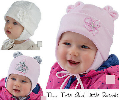 Baby Girls Toddlers Winter Warm Velour Hat Christening Occasion Size 0 - 18 mths