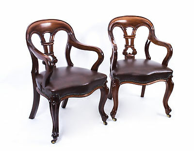 Antique Pair William IV Mahogany &  Leather Armchairs c,1830