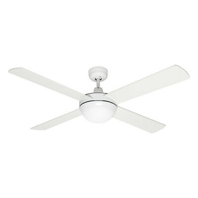 Mercator 130cm White 4 Blade Grange Ceiling Fan With 2 x Led Globes Dimmable