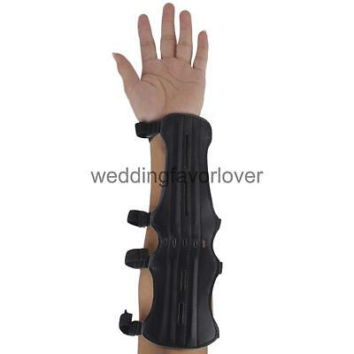 Artificial Leather Shooting Archery Arm Guard Protection 4 Straps
