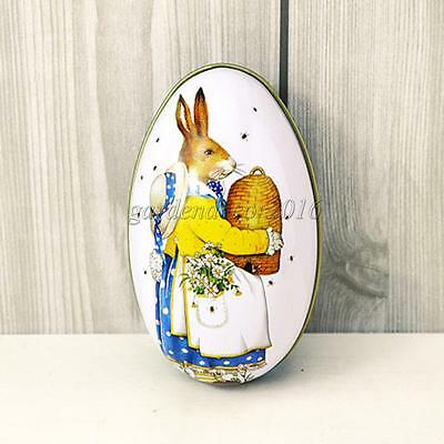 Egg Shaped Collectable Gift Tin Case Metal Storage Container Trinket Box 01
