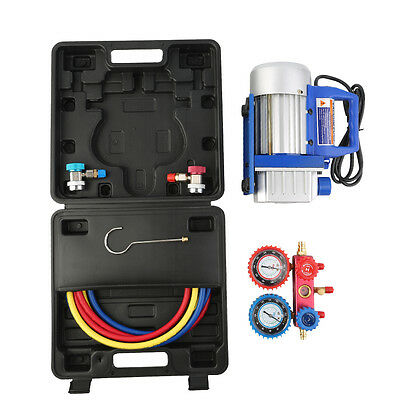 Dual Gauge A/C Diagnostic Manifold Tester Set R134a+3CFM 1/3HP Vacuum Pump KIT Y