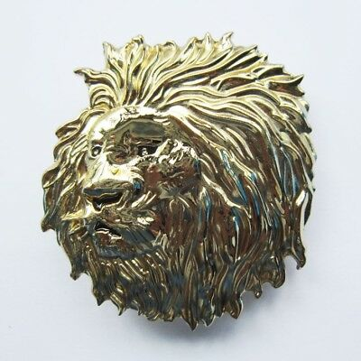 Lion Head Gold-Plated Metal Belt Buckle