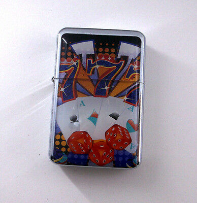Lucky 777 Aces Poker Playing Cards Dice Wind Proof Oil Flip Lighter bb