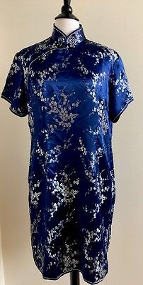 Blu Chinese Traditional Pencil Short Satin Dress Sz 48/US 14