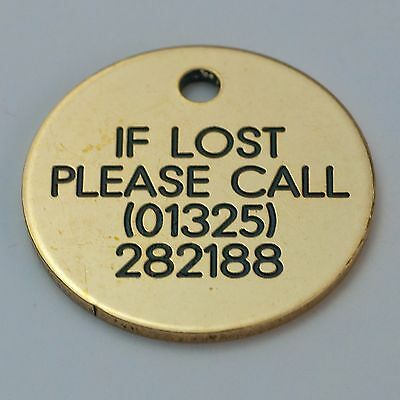 Quality Engraved Pet tag - Med 32mm circle Brass tag